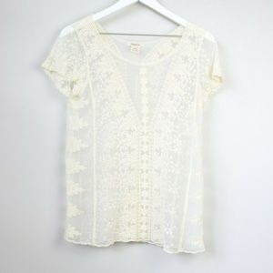 Sundance Ivory Lace Sheer Short Sleeve Blouse